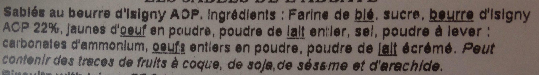Sablés de l'abbaye - Ingredients - fr