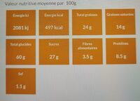 Le sablé des moissons - Nutrition facts - fr