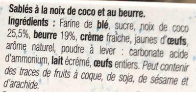 Palet croquant noix de coco - Ingredients - fr