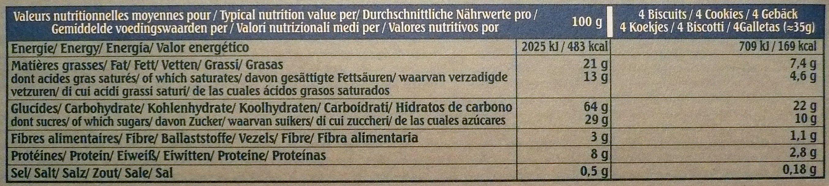 Le petit normand Pépites de Chocolat - Nutrition facts - fr