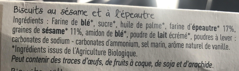 BISCUITS SESAME EPEAUTRE - Ingrediënten - fr