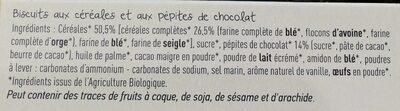 Biscuits céréales petites de chocolat - Ingrediënten