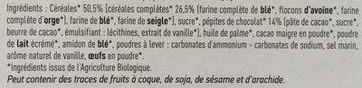Biscuits céréales pépites de chocolat - Ingrediënten - fr