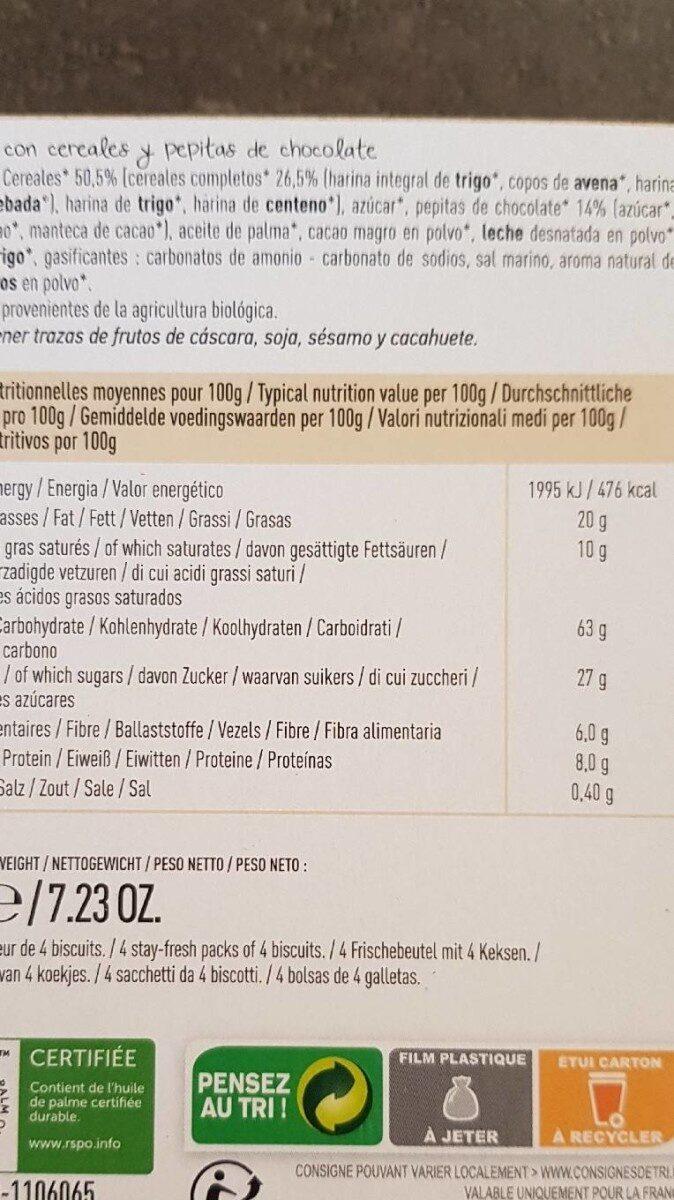 Biscuits céréales pépites de chocolat - Voedingswaarden - fr