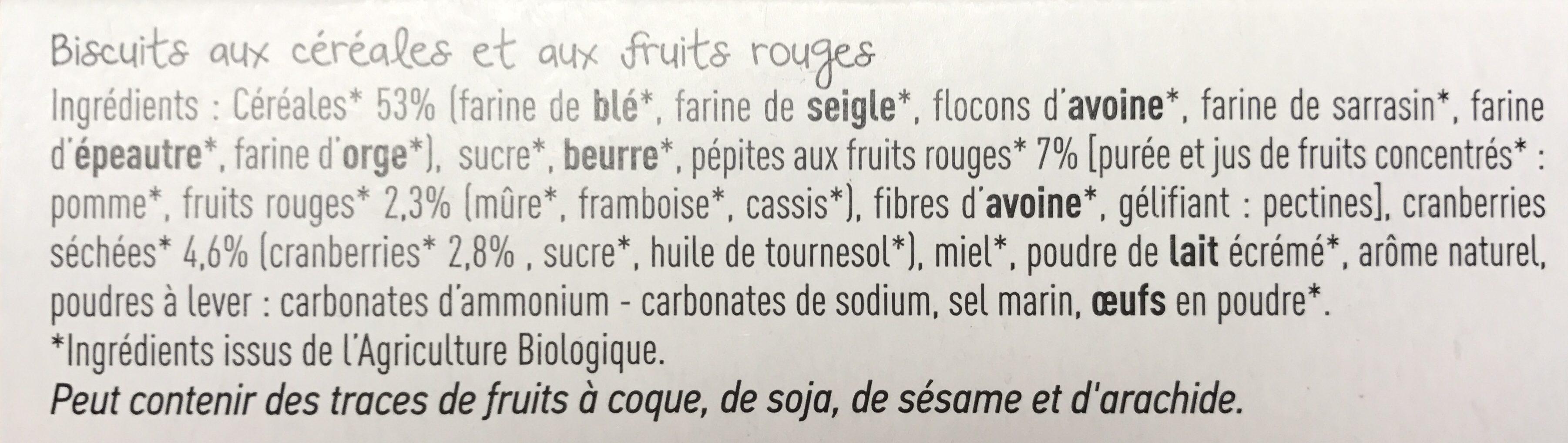 Biscuits Céréales Fruits Rouges - Ingrediënten - fr