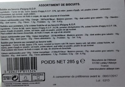 Assortiment de biscuits - Nutrition facts