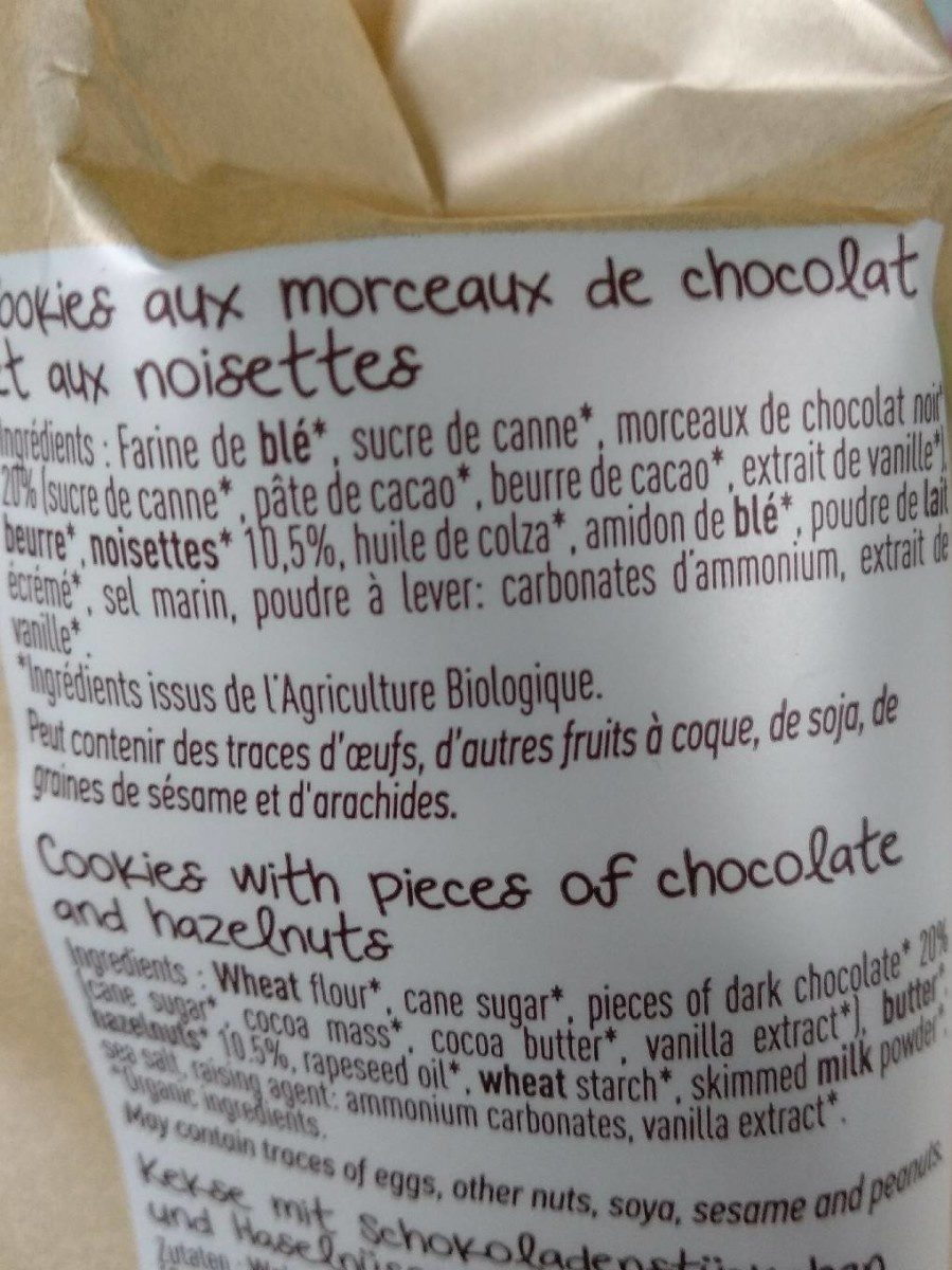 Maxi cookies chocolat noisette - Ingrediënten - fr