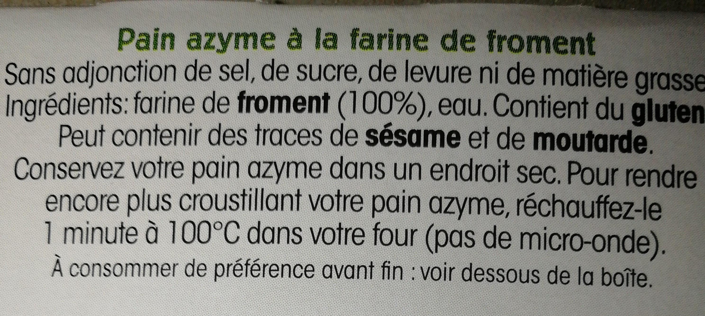 Pain Azyme Froment Paul Heumann - Ingrédients