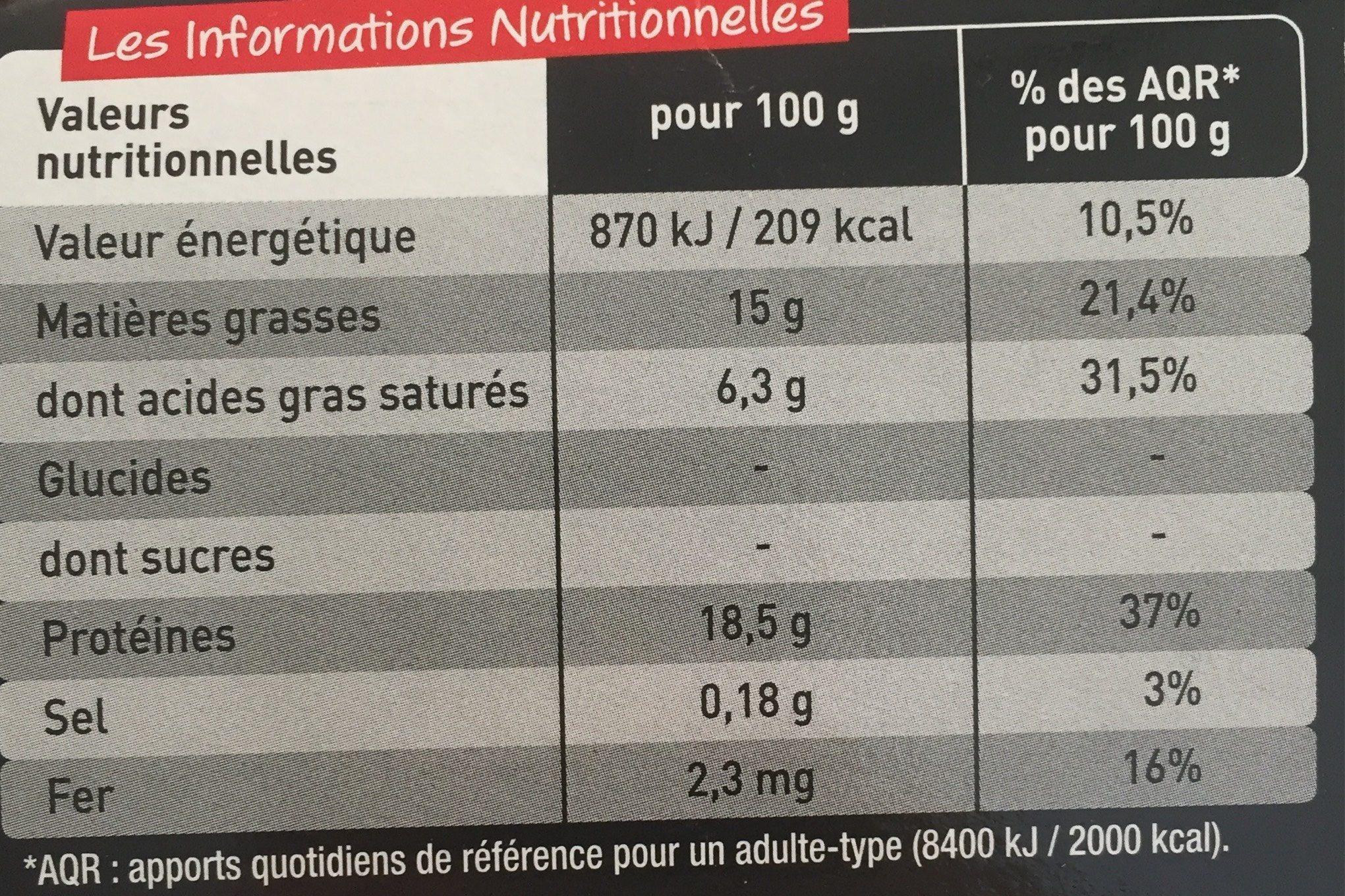 Le Pur Bœuf - Nutrition facts - fr