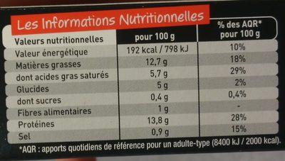 Le spécial à l'Oignon - Informations nutritionnelles