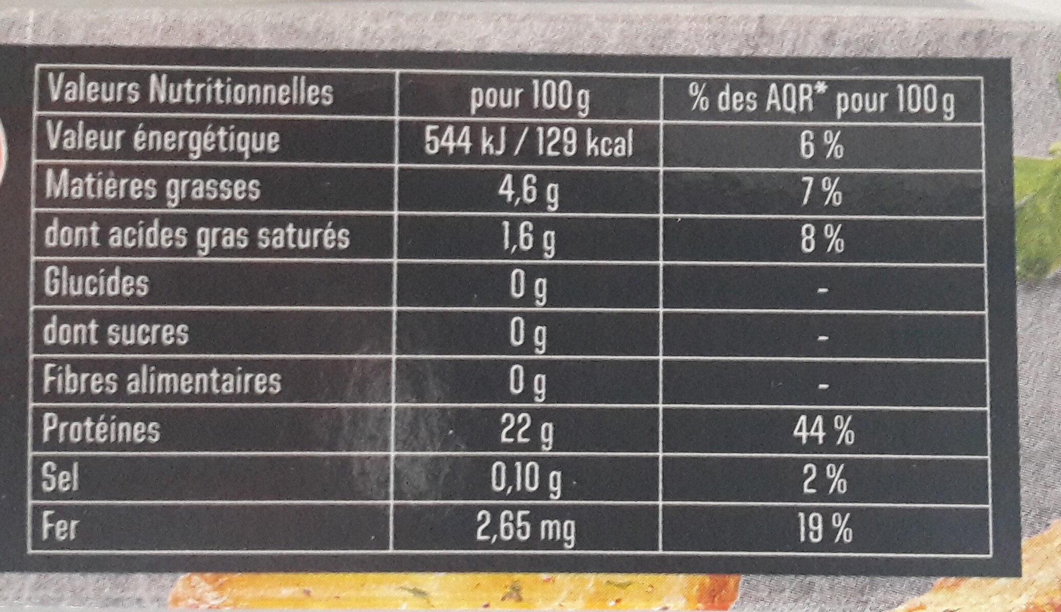 Le Pur Bœuf 5% de M.G. - Informations nutritionnelles - fr