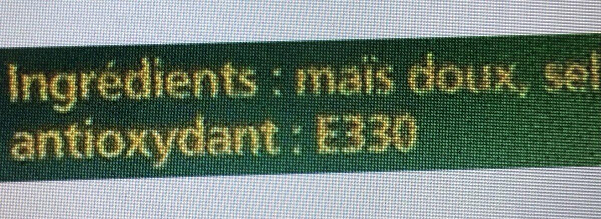 Maïs en épi - Ingrédients - fr