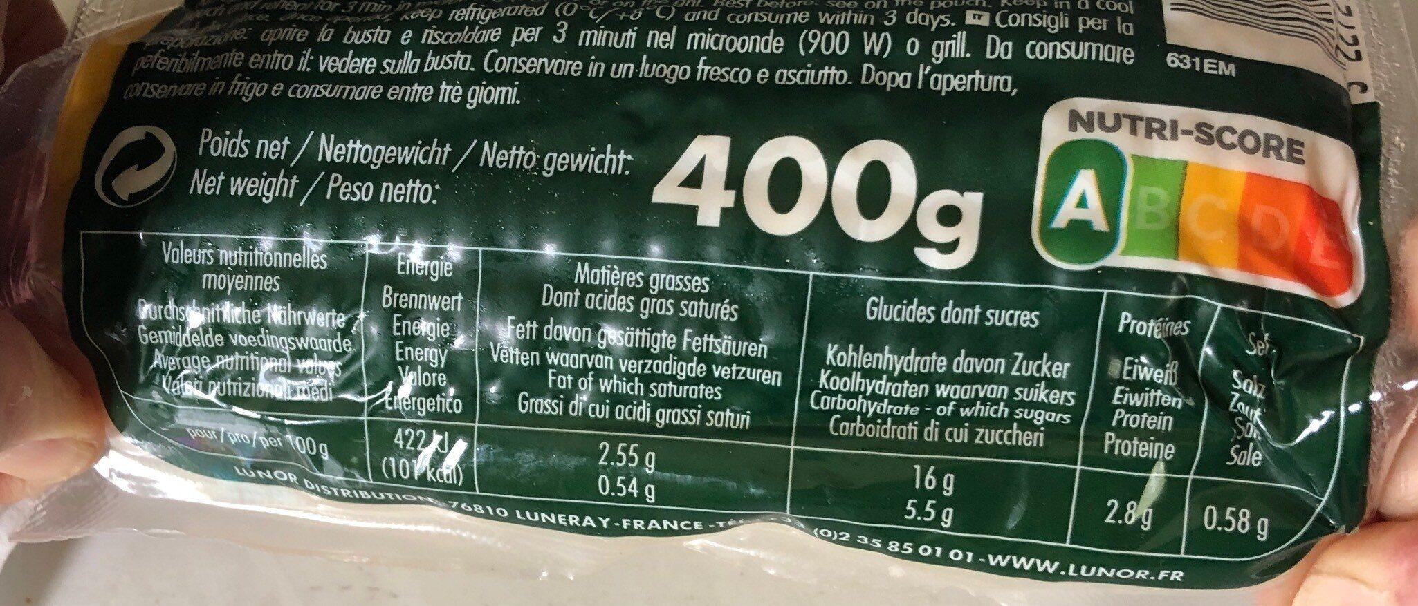 Maïs en épi - Informations nutritionnelles - fr