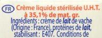 Creme entiere - Ingrediënten