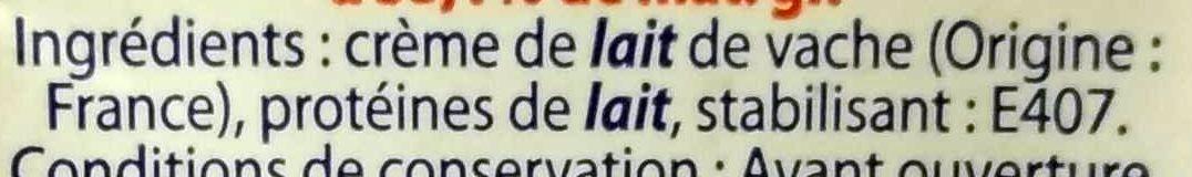 Crème Entière - Ingrédients - fr