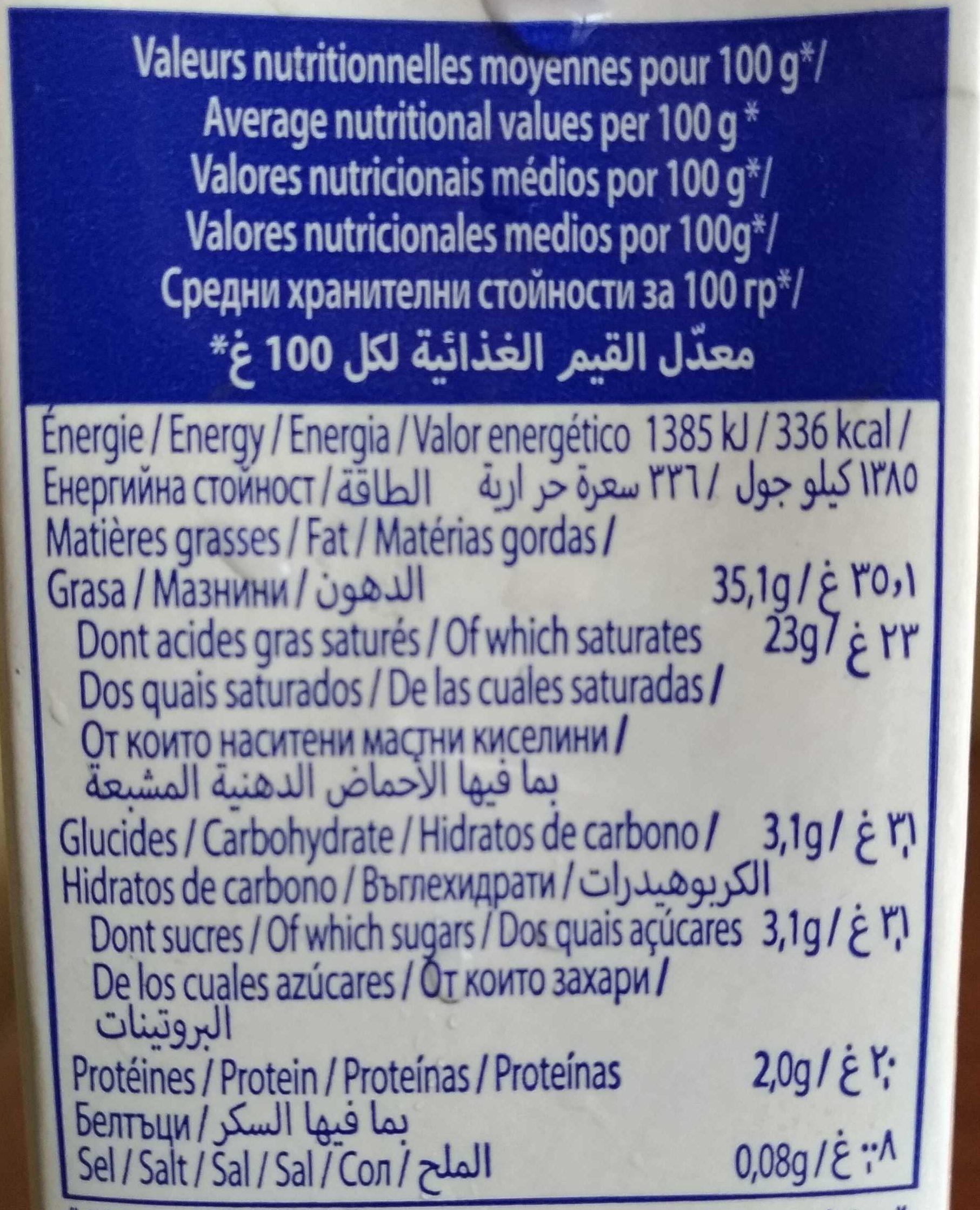 Crème Entière - Informations nutritionnelles - fr