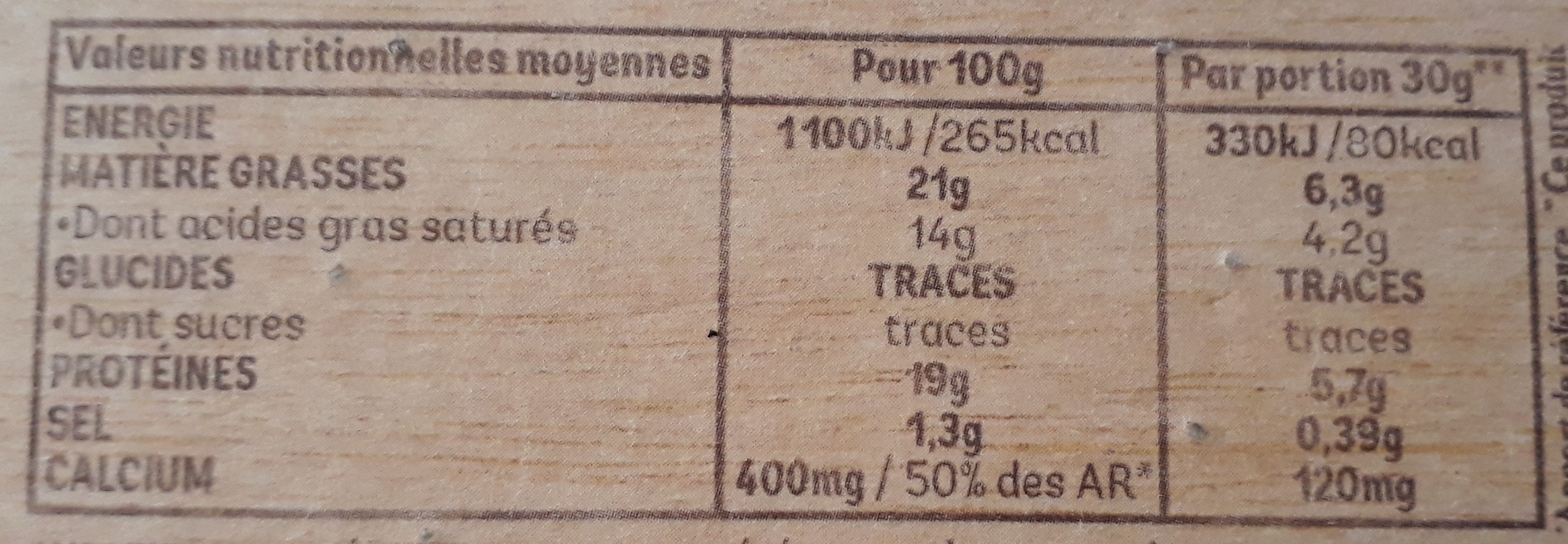 Camembert Auguste Lepetit & fils (21 % MG) - Nutrition facts - fr