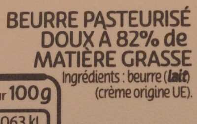 Beurre gastronomique doux - Ingrédients - fr