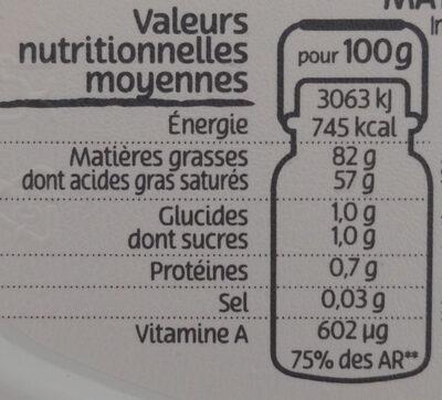 Beurre gastronomique doux - Informations nutritionnelles - fr