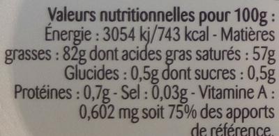 Beurre gastronomique doux - Nutrition facts