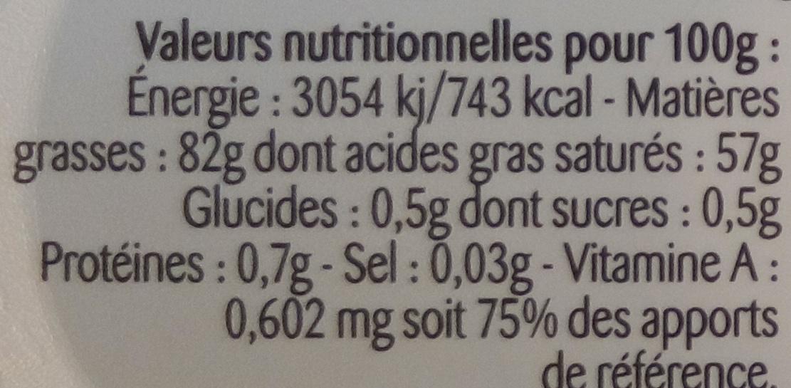 Beurre gastronomique doux - Voedingswaarden