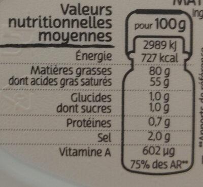 Beurre gastronomique demi-sel - Informations nutritionnelles - fr