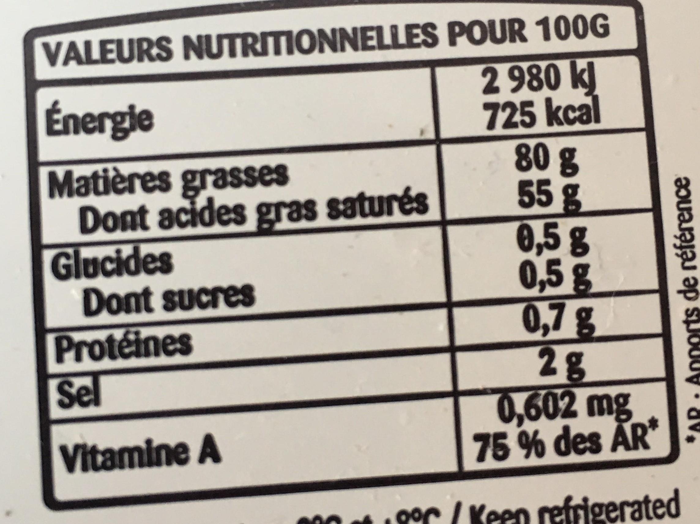 Beurre Gastronomique - Informations nutritionnelles - fr