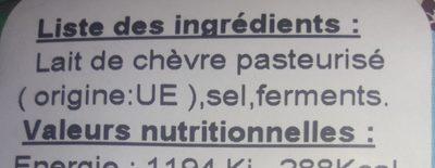 La chervrie - Ingredients