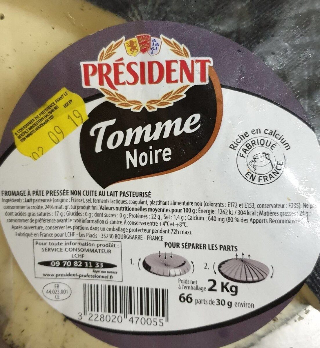 Tomme Noire - 192 MG Calcium 24 % - Nutrition facts