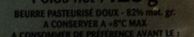 Beurre Doux (82% MG) Gastronomique - Ingrédients - fr