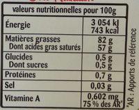 Beurre Doux (82% MG) Gastronomique - Informations nutritionnelles - fr