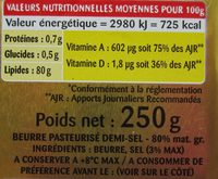 Beurre gastronomique demi-sel - Nutrition facts - fr