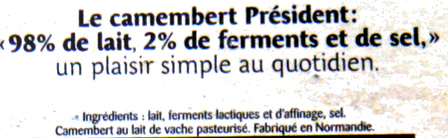 Camembert - Ingrediënten - fr