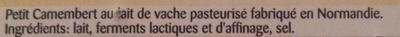 Petit Camembert (20% MG) - Ingrediënten