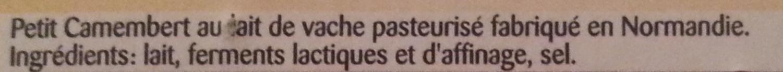 Petit Camembert (20% MG) - Ingrédients - fr