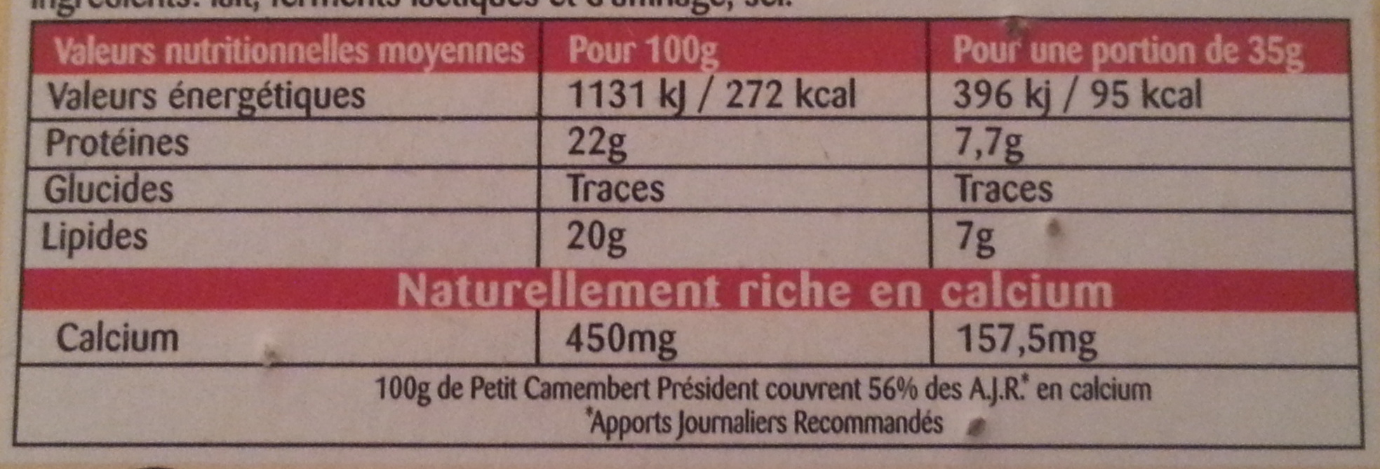 Petit Camembert (20% MG) - Informations nutritionnelles - fr