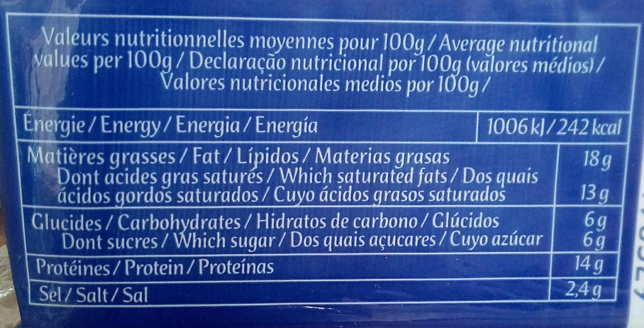 F.fondu Hamburger - Informations nutritionnelles - fr