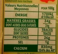 Comté Le Montarlier - Voedingswaarden - fr