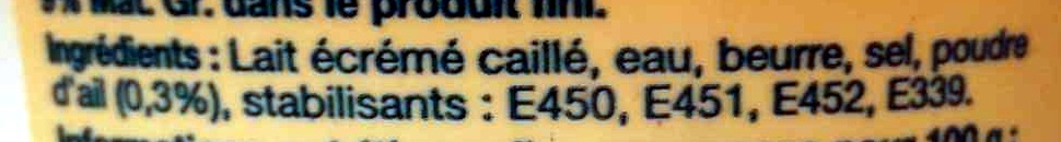 Cancoillotte à l'Ail (9 % MG) - Ingredients