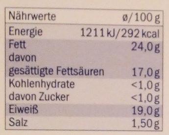 Brique de chèvre - Voedingswaarden