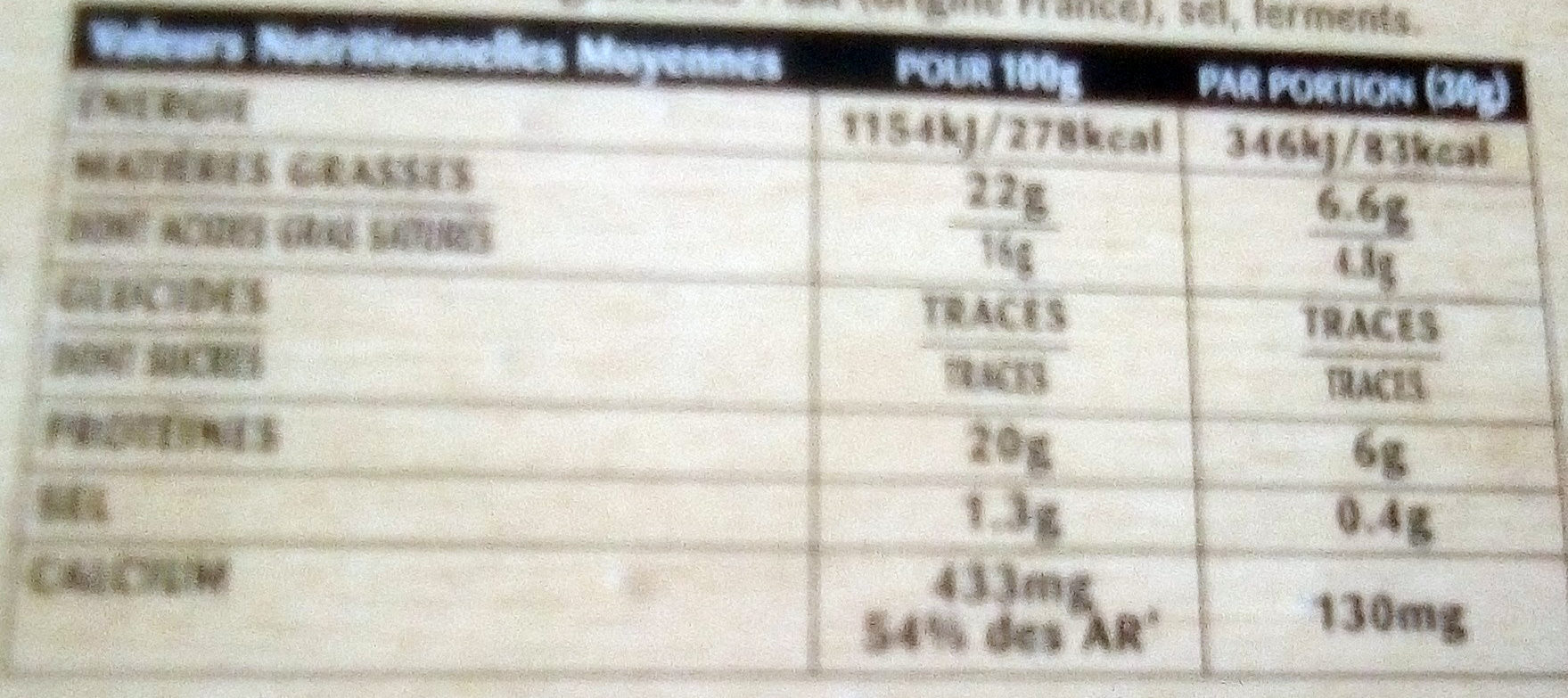 Camembert de campagne - Nutrition facts