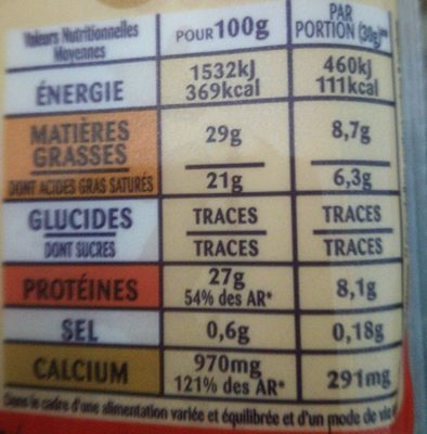 Emmental Cœur de Meule - Nutrition facts