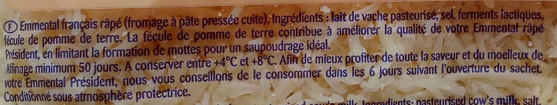 Emmental Râpé Fondant - Ingrédients - fr