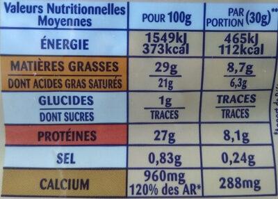 Emmental Râpé Fondant - Nutrition facts - fr