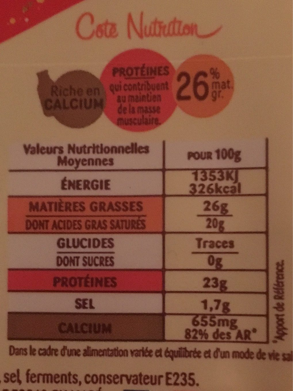 Fromage pour raclette - Informations nutritionnelles - fr