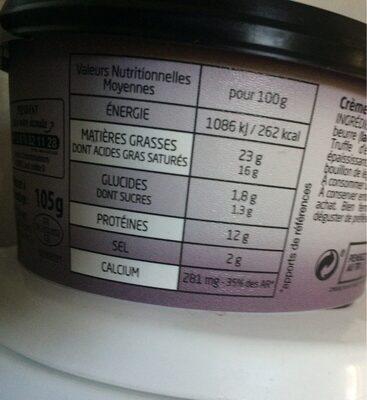 La crème de brie saveur truffe - Voedingswaarden
