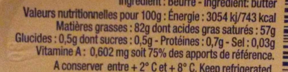 Beurre Tendre - Voedingswaarden