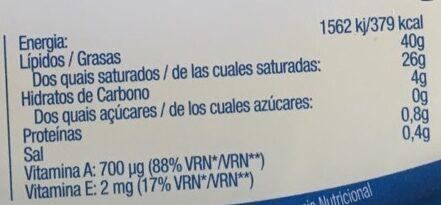 Manteiga magra - Informação nutricional - pt