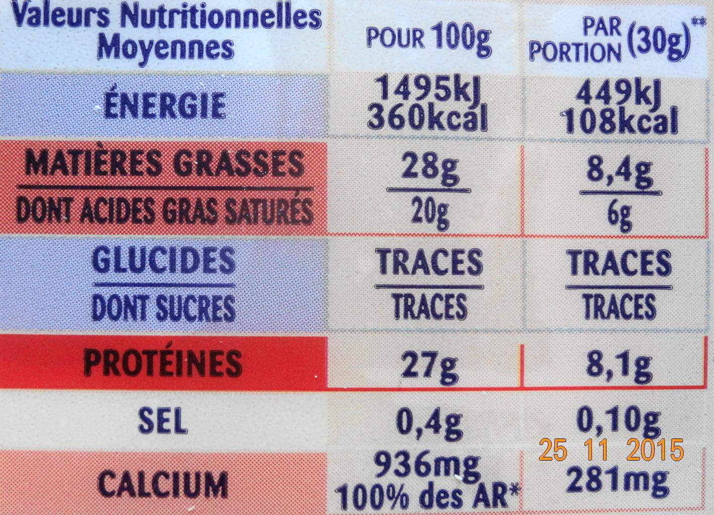 Emmental coeur de meule - Informations nutritionnelles - fr