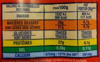 Emmental coeur de meule - Nutrition facts - fr